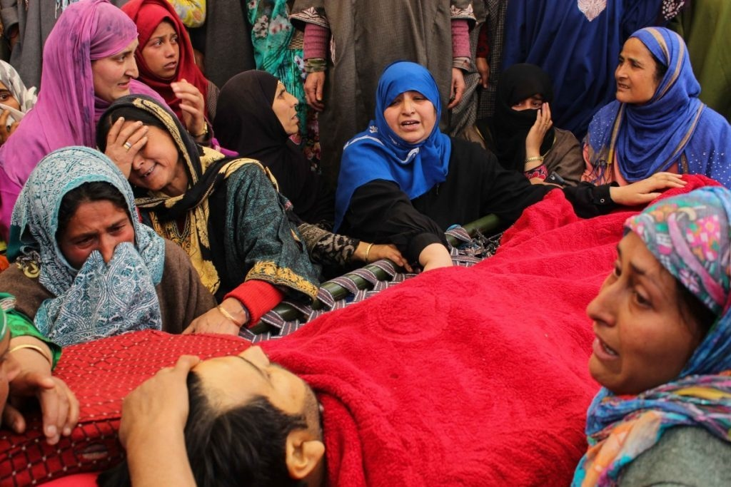 Sharjeel's body lying right before the eyes of his fiancé, Mahjabeena. Sharjeel was one of the four civilians killed during an encounter in Khudwani village of South Kashmir's Kulgam district on April 11, 2018. South Kashmir witnessed a large number of civilian as well as rebel killings in 2018