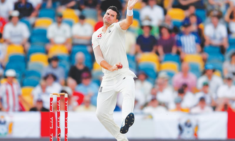 BRIDGETOWN: England pacer James Anderson in action during the first Test against West Indies at the Kensington Oval on Thursday.—Reuters