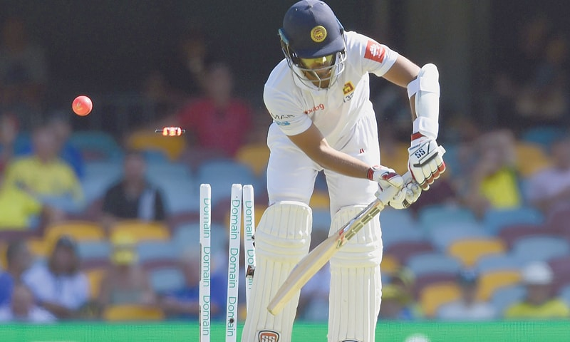 BRISBANE: Sri Lankan batsman Kusal Mendis is cleaned up by Australia's Jhye Richardson during the first Test at the Gabba on Thursday.—AFP