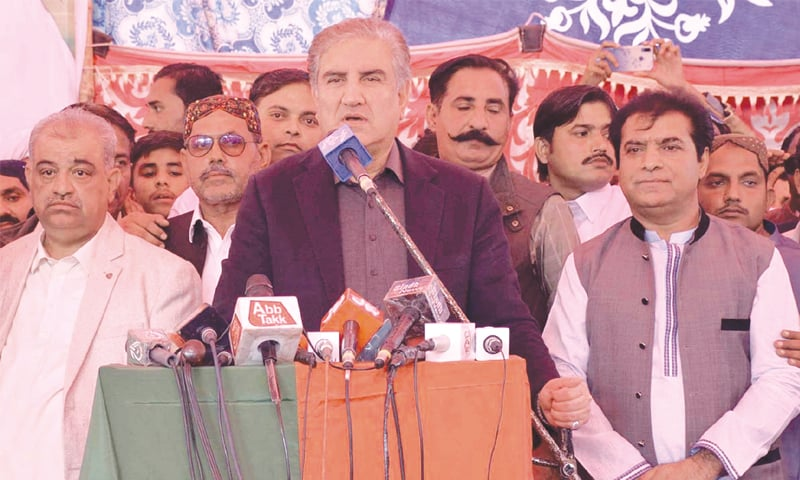 FOREIGN Minister Shah Mehmood Qureshi speaks at the gathering in Umerkot on Friday.—APP