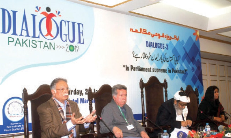 PML-N Senator Pervez Rasheed  speaks during the national dialogue on Saturday. Afrasiab Khattak, Hafiz Hussain Ahmed and Nafisa Shah are also seen. — Online