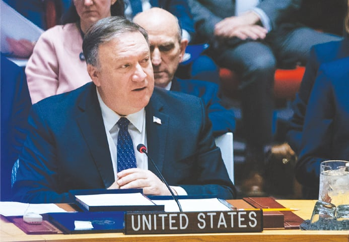 NEW YORK: US Secretary of State Mike Pompeo speaks at the UN Security Council on Saturday.—AP