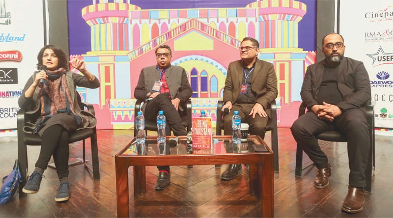 Sabahat Zakaria moderates a session with Nadeem F. Paracha, Raza Rumi and Mosharraf Ali Zaidi | Photos by the writer