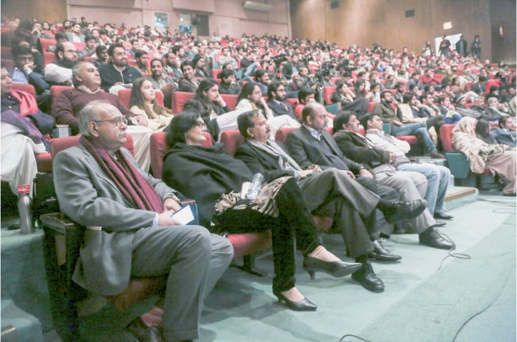 Najam Sethi, chairman of ThinkFest can be seen among the audience at a well-attended session