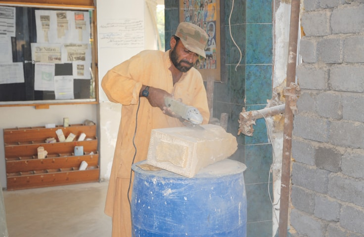 Stones were brought in from Jhimpir to match the original brick walls | Aziz Soomro / EFT