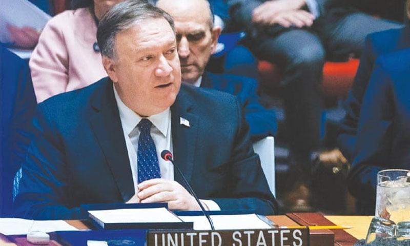 امریکی سیکریٹری آف اسٹیٹ مائیک پومپیو سلامتی کونسل کے خصوصی اجلاس سے خطاب کر رہے ہیں — فوٹو: اے پی