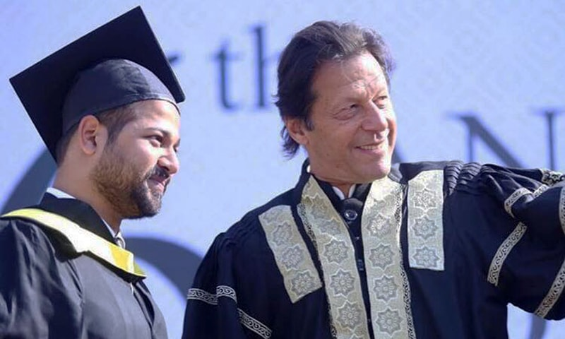 """Do not set 'making money' as your life goal; it will not be satisfying as there is no end goal to achieve,"""" said Prime Minister Imran Khan at the 6th convocation ceremony of Namal College in Mianwali. Photo courtesy: imrankhan.pti on Instagram"""