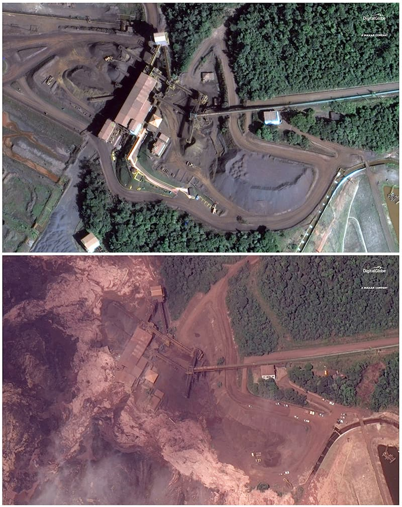 This combo of satellite images provided by DigitalGlobe shows a mining site northeast of Brumadinho before and after the dam collapse. — AFP
