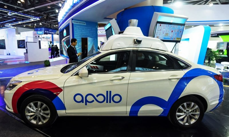 A driverless car by Baidu Apollo is seen at the 2018 International Intelligent Transportation Industry Expo in Hangzhou in China's eastern Zhejiang province in December 2018.—AFP/File