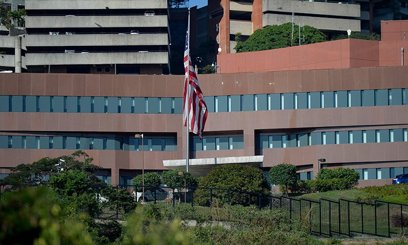 Picture of the entrance of the embassy of the United States in Caracas, taken on January 27, 2019. — AFP