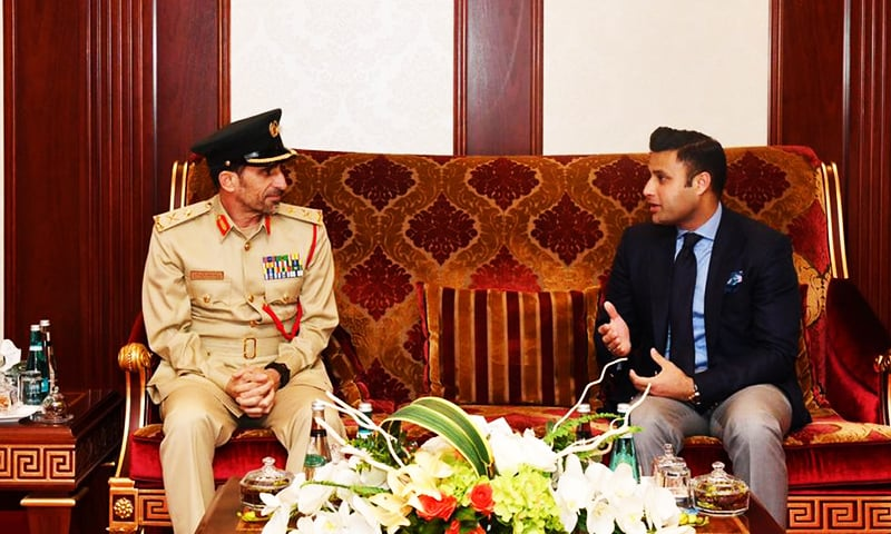 Zulfikar Bukhari calls on Dubai Police Chief Maj Gen Abdullah Khalifa Al Mari to discuss the issue.— Ministry of Overseas Pakistanis and HRD
