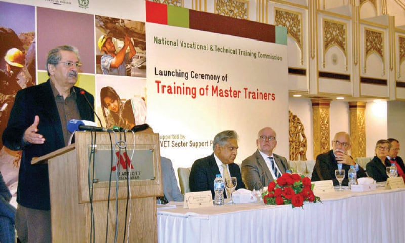 Education Minister Shafqat Mahmood speaks at the launching ceremony on Monday. — APP
