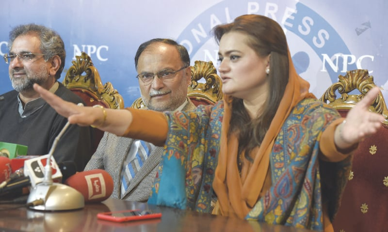 ISLAMABAD: Pakistan Muslim League-Nawaz leaders Shahid Khaqan Abbasi, Ahsan Iqbal and Marriyum Aurangzeb address a news conference at the National Press Club on Monday.—Tanveer Shahzad / White Star