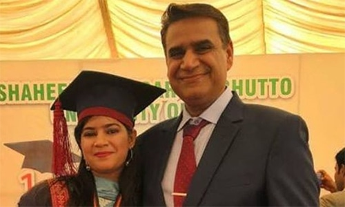 Suman Kumari, who hails from Qambar-Shahdadkot, will serve in her native district. In this picture she can be seen with her father. — Photo courtesy BBC Urdu