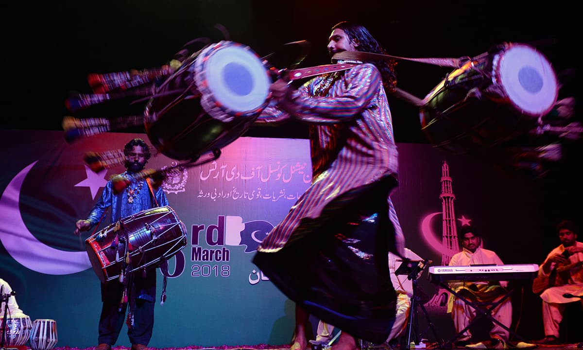 A dhol player performing at the Pakistan National Council of the Arts in Islamabad | Mohammad Asim, White Star