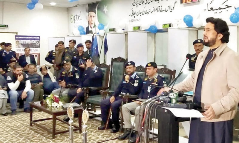 Minister of State for Interior Shehryar Khan Afridi speaks at the Islamabad Traffic Police headquarters on Tuesday. — INP