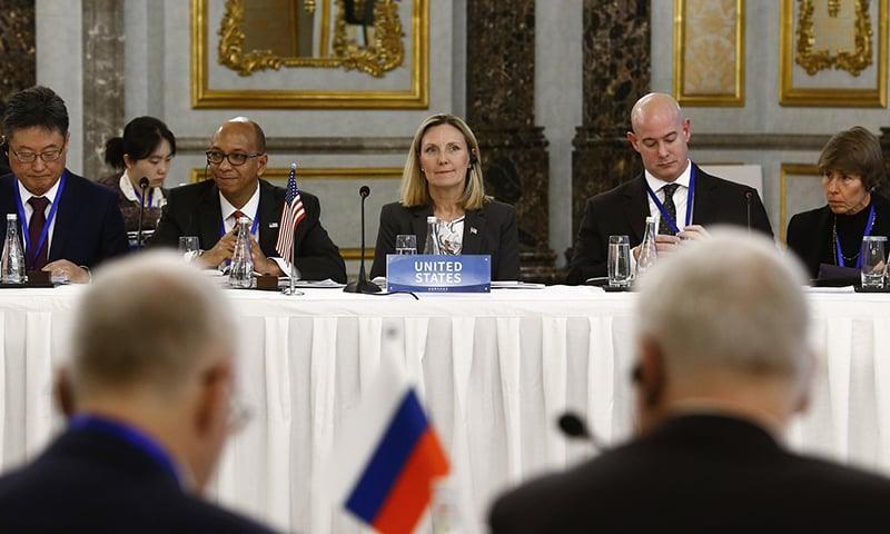 US Under-Secretary of State Andrea Thompson (C) and the US delegation attend a Treaty on the Non-Proliferation of Nuclear Weapons (NPT) conference with the UN Security Council's five permanent members (P5) China, France, Russia, Britain, and US, in Beijing, China, January 30, 2019. ─ AP