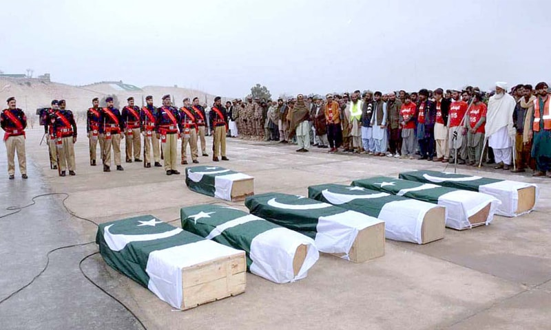 LORALAI: Home Minister Mir Zia Langove, along with Balochistan Inspector General of Police Mohsin Hassan Butt and other people, offers funeral prayers of martyred police and civilians here on Wednesday.—APP