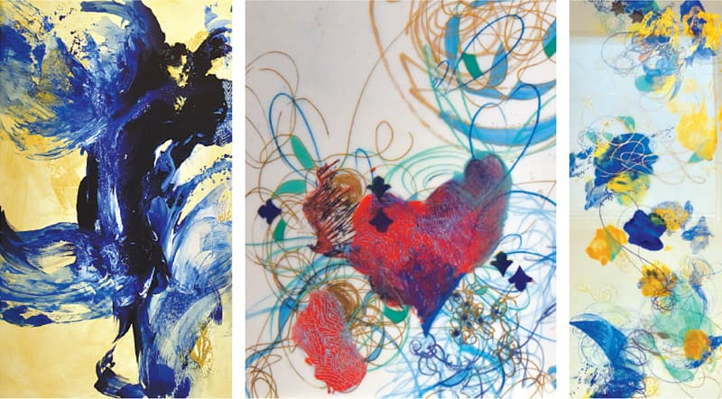 THREE of the paintings on display at the exhibition.—White Star