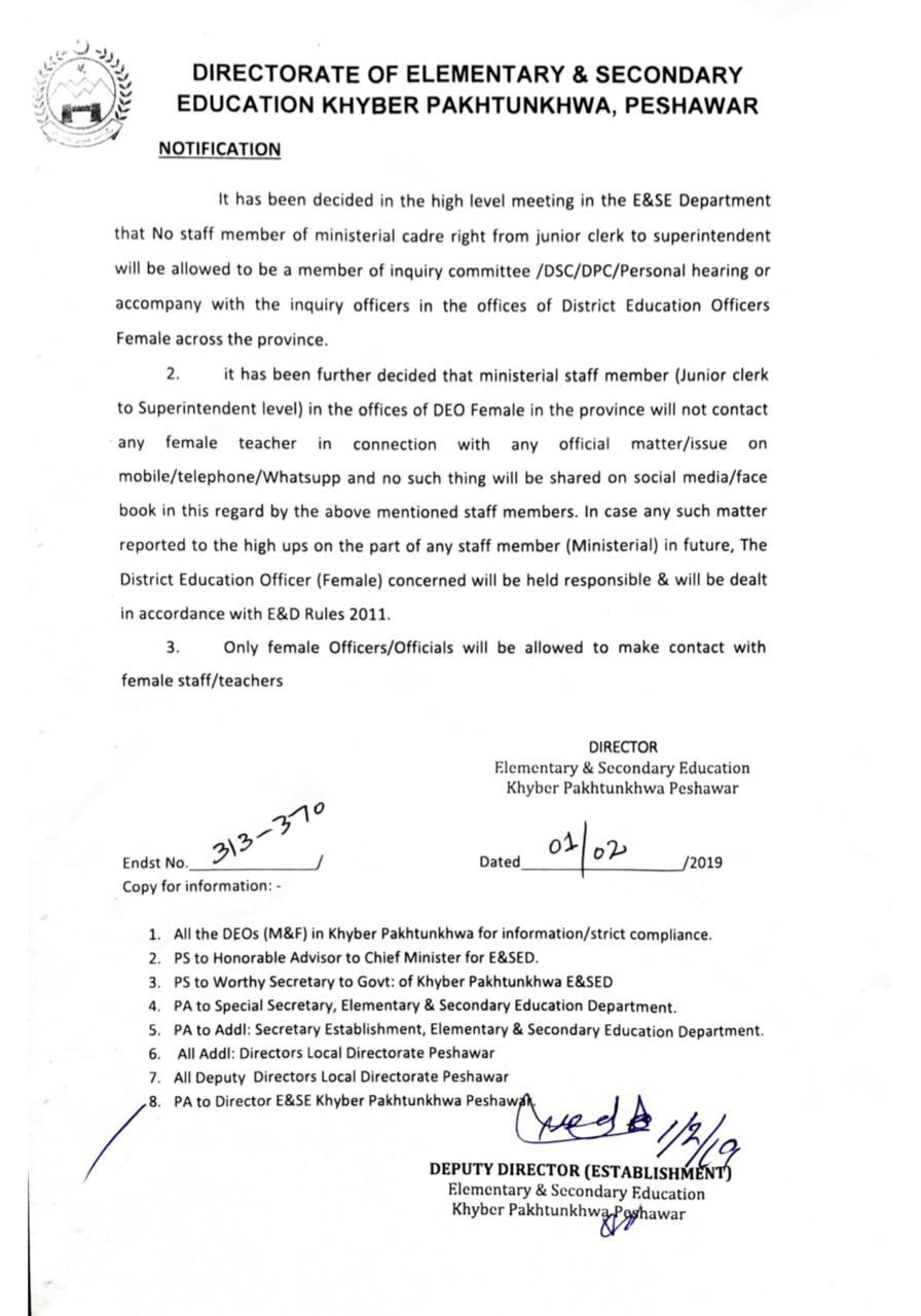 Notification issued by KP Directorate of E&SE.
