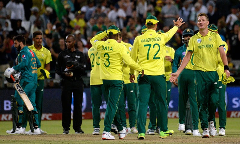 South African cricketers celebrate after their victory in the first T20 match against Pakistan. — AFP