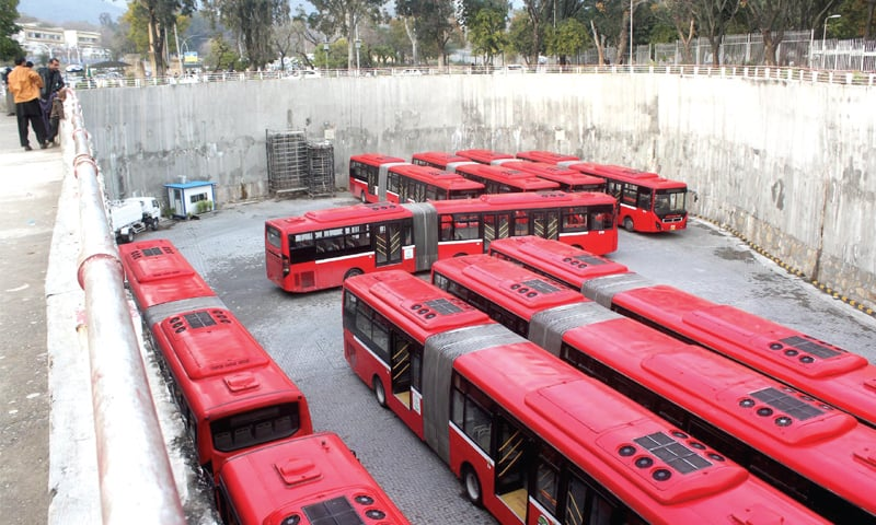 Metro buses stand at Secretariat station after their drivers went on a protest on Friday. — Online
