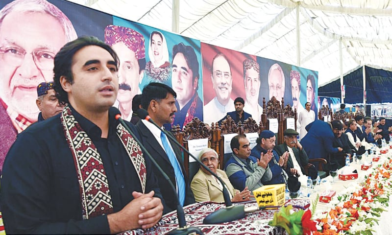 KANDHKOT: Pakistan Peoples Party chairman Bilawal Bhutto-Zardari addresses a public gathering on the occasion of the first death anniversary of PPP leader Mir Hazar Khan Bijarani on Friday.—PPI