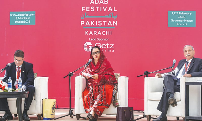 FEDERAL Minister for Defence Production Zubaida Jalal speaking during the Balochistan session at Adab Festival on Saturday. —Fahim Siddiqui / White Star