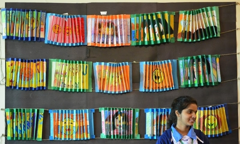 A student at the art show at Karachi's Khatoon-i-Pakistan Government School.