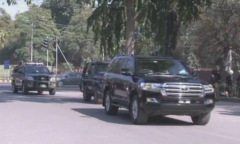 The premier arrived in Lahore for a day-long visit. — DawnNewsTV
