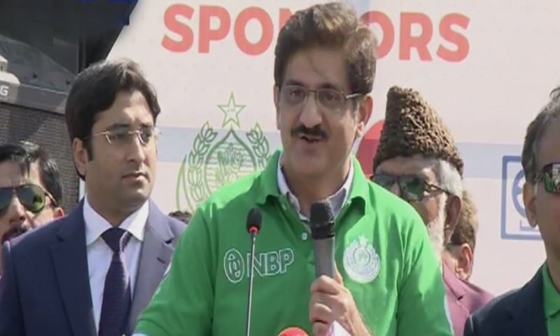 Shah was the chief guest first Commissioner Karachi Marathon held in the megapolis today. — DawnNewsTV