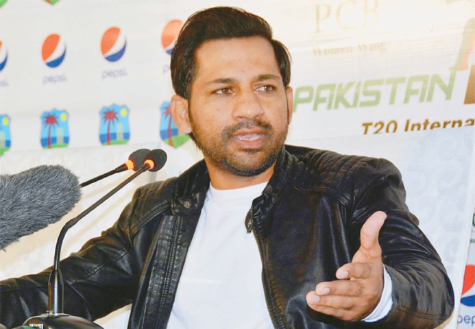 KARACHI: Pakistan captain Sarfraz Ahmed gestures during a news conference on Sunday.—White Star
