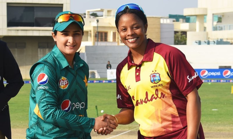 Pakistan Captain Bismah Maroof with West Indies' Merissa Aguilleira before a match. — File photo