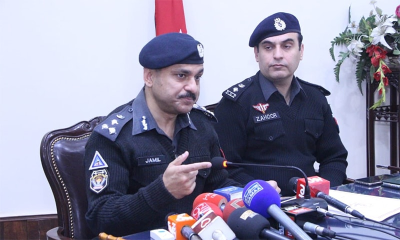 Pesahwar CCPO Qazi Jamil and Peshawar SSP operations Zahoor Babar speak to the media. — Photo courtesy PTI Twitter
