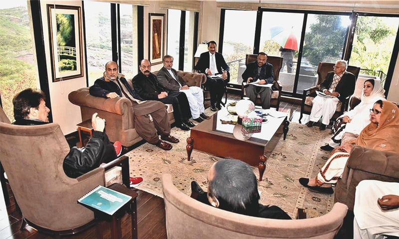 ISLAMABAD: Prime Minister Imran Khan in a meeting with MNAs of Balochistan Awami Party on Wednesday.—APP