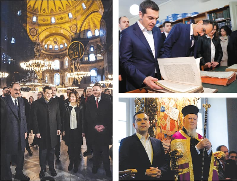 ISTANBUL: (Left) Greek Prime Minister Alexis Tsipras (centre) and Turkish officials visit the Byzantine-era Hagia Sophia museum on Wednesday. (Top right) Tsipras and the spokesman for Turkish President Tayyip Erdogan flip through ancient texts at a library in Halki Greek Orthodox Seminary on Heybeliada, an island near Istanbul. Tsipras attends a mass at the seminary.—Agencies