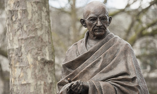 A statue of Indian independence icon Mahatma Gandhi is pictured at Parliament Square in central London. — AFP