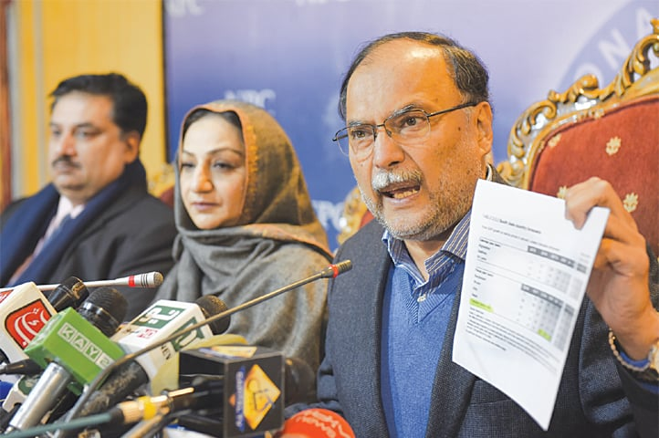Pakistan Muslim League-Nawaz leaders Ahsan Iqbal, Saira Afzal Tarrar and Khuram Dastagir address a press conference on Thursday.—Tanveer Shahzad / White Star