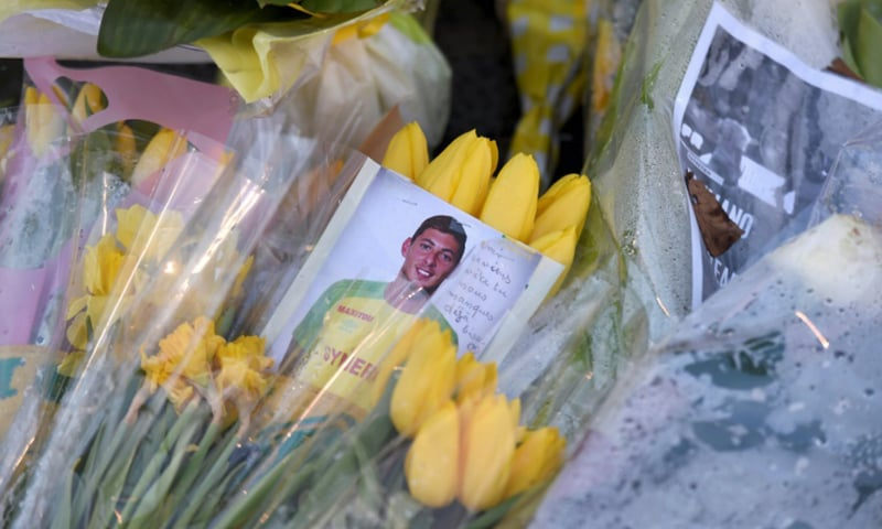 Wellwishers had laid flowers for Sala at Nantes football stadium after his disappearance. — AFP