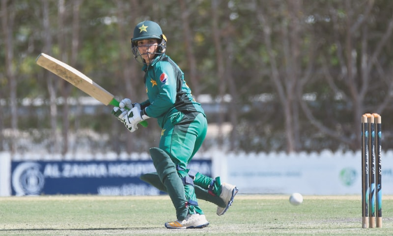 DUBAI: Pakistan opener Sidra Amin in action during her innings of 96 in the second One-day International against the West Indies at the ICC Academy on Saturday. —courtesy PCB