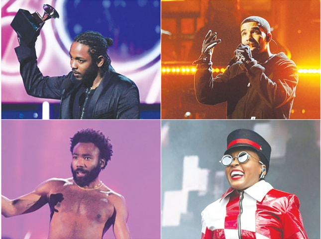 COMBINATION photos of some of the nominees for the Grammy Awards: Kendrick Lamar (top left), Drake (top right), Childish Gambino (bottom left) and Janelle Monae (bottom right).—AFP
