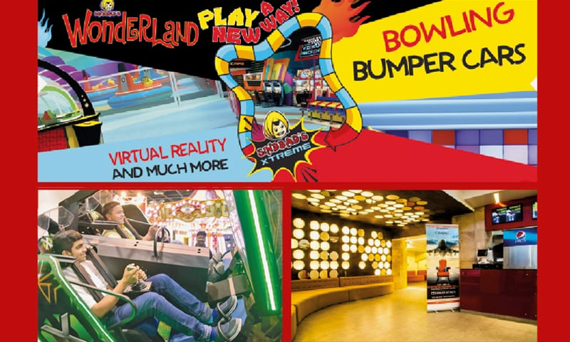 Top: Sindbad's Wonderland offers rides and games for children; bottom-right: Cinepax cinemas in malls attract increased footfall; bottom-left: VR rides at Sindbad Extreme.
