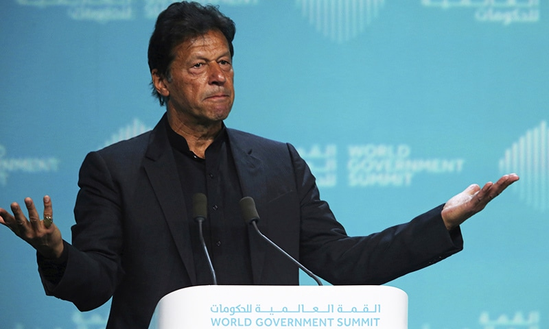 Prime Minister Imran Khan speaks during the World Government Summit in Dubai, United Arab Emirates on Sunday. — AP