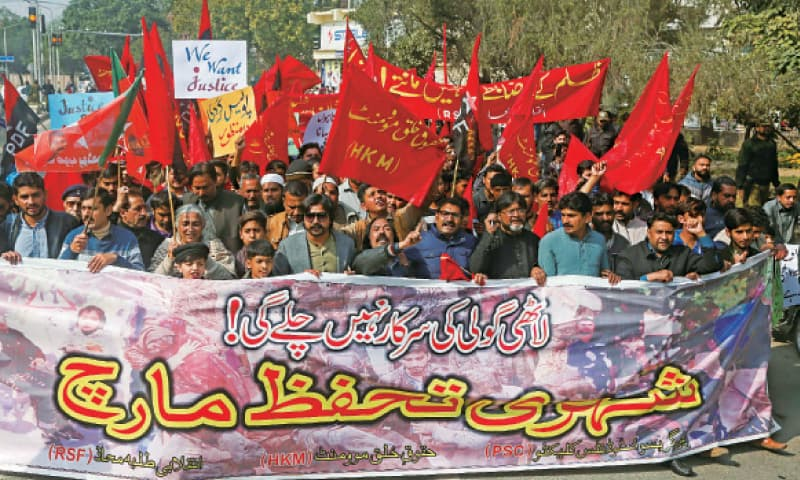 Participants in Shehri Tahaffuz March demand action against perpetrators of the Sahiwal tragedy and call for an end to extrajudicial killings. — White Star