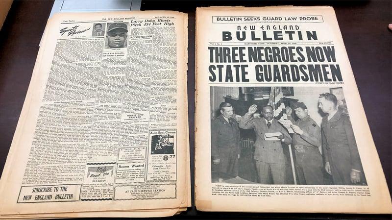 AN ORIGINAL April 23, 1949, copy of the New England Bulletin weekly newspaper.—AP