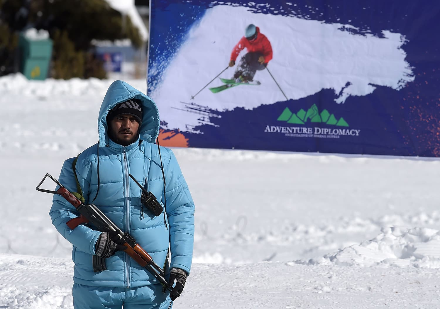 A security official looks on during the CAS Karakoram International Alpine Ski Cup at the Naltar Ski Resort. ─ AFP