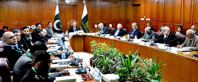 ISLAMABAD: Chief Justice of Pakistan Asif Saeed Khosa presides over a meeting on police reforms at the Supreme Court building on Monday.—APP
