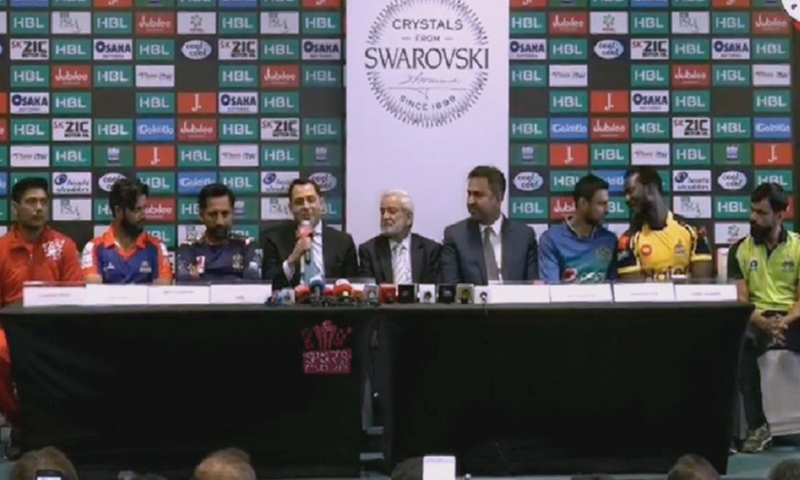 Team captains and PCB chairman address a joint press conference at the Dubai International Stadium. — DawnNewsTV