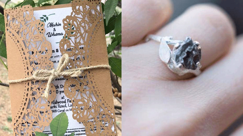 Left: Seed paper invites. Right: Ring made of recycled silver and meteorite