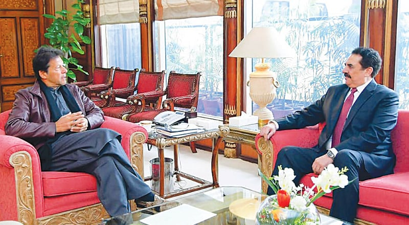RETIRED Gen Raheel Sharif, who heads the Saudi-led Islamic Military Counter Terrorism Coalition, calls on Prime Minister Imran Khan at PM Office on Tuesday.—White Star
